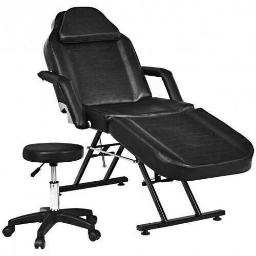 Massage Tattoo Facial Beauty Spa Salon Chair with Stool-Black - Color: Black