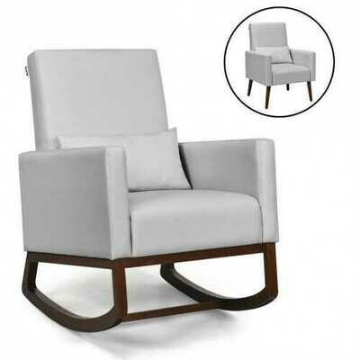 2-in-1 Fabric Upholstered Rocking Chair with Pillow-Light Gray - Color: Light Gray