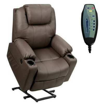 Electric Power Lift Leather Massage Sofa-Brown - Color: Brown