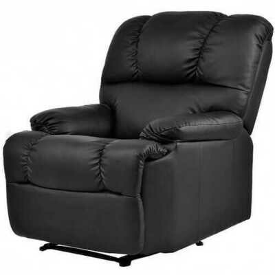 Recliner Massage Sofa Chair Deluxe Ergonomic Lounge Couch Heated W/Control-Black - Color: Black