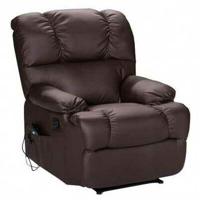 Recliner Massage Sofa Chair Deluxe Ergonomic Lounge Couch Heated W/Control-Brown - Color: Brown