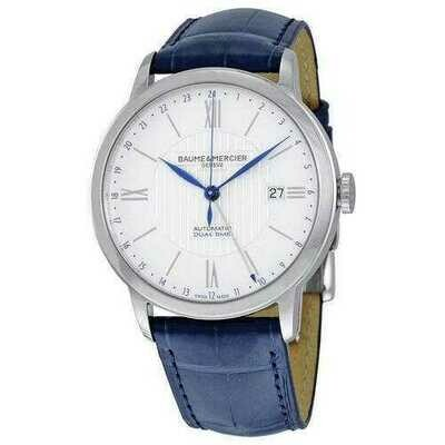Baume & Mercier 10272 Classima Core White Dial Men's Blue Alligator Leather Dual Time Watch