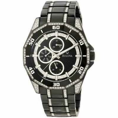 Bulova 98C111 Black Ion Plated Crystal Accent Dial Men's Watch