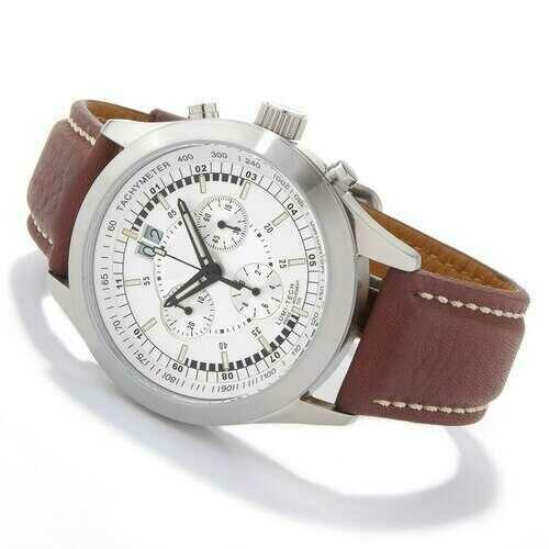 Swiss Tradition Men's Tritium Lumi-Tech Chronograph Brown Leather Strap Watch