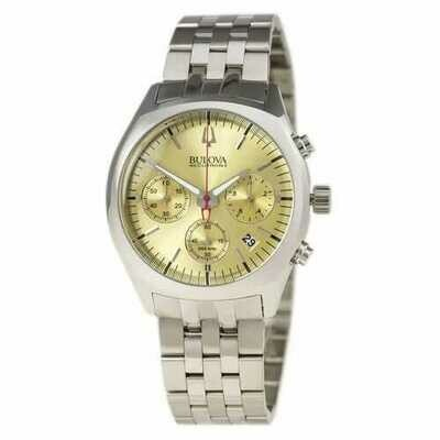 Bulova 96B239 Accutron II Surveyor Stainless Steel Gold Dial Chronograph Men's Watch