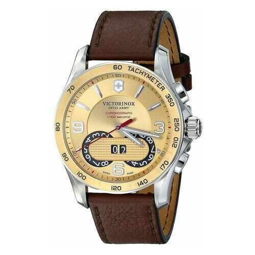 Victorinox Swiss Army 241617 Classic Brown Leather Gold Dial Men's Chronograph Watch