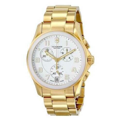 Victorinox Swiss Army 241537 Men's Gold Tone Stainless Steel White Dial Classic Chronograph Watch