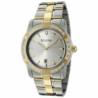 Bulova 98E104 Men's Two Tone Diamond Accented Stainless Steel Bracelet Date Watch