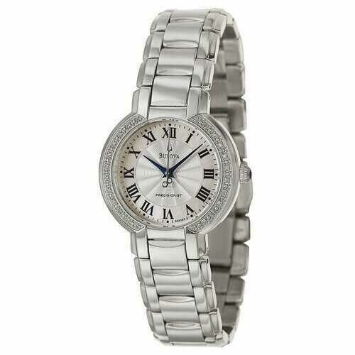 Bulova 96R167 Ladies Fairlawn Precisionist Mother of Pearl Diamond Bezel Bracelet Watch