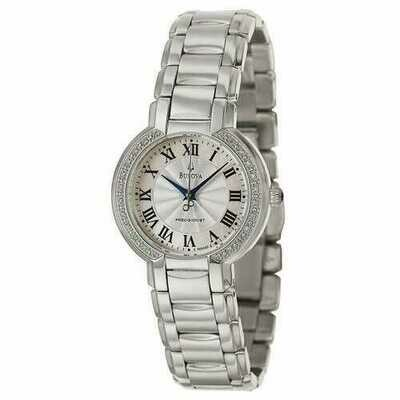 Bulova 96R167 Ladies Fairlawn Precisionist Mother of Pearl Diamond Bezel Bracelet Watch