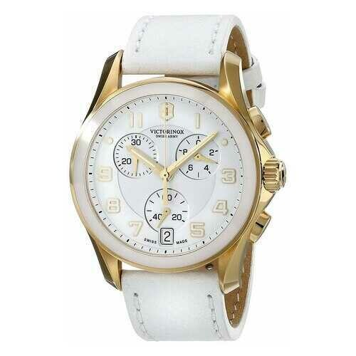 Victorinox Swiss Army 241511 Classic Chronograph Gold Tone Accented White Dial Leather Quartz Watch