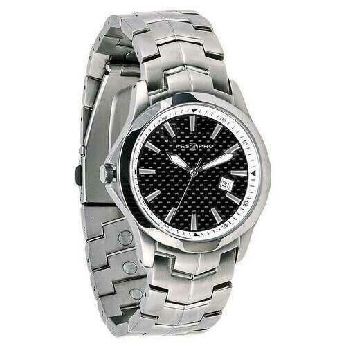 Field & Stream Men's Magnetic Therapy Black Dial 100M Silver Tone Bracelet Watch