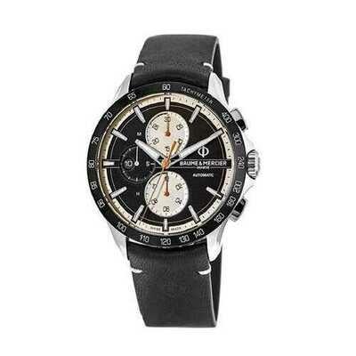 Baume & Mercier 10434 Clifton Club Black Leather Men's Chronograph Tachymeter Automatic Watch