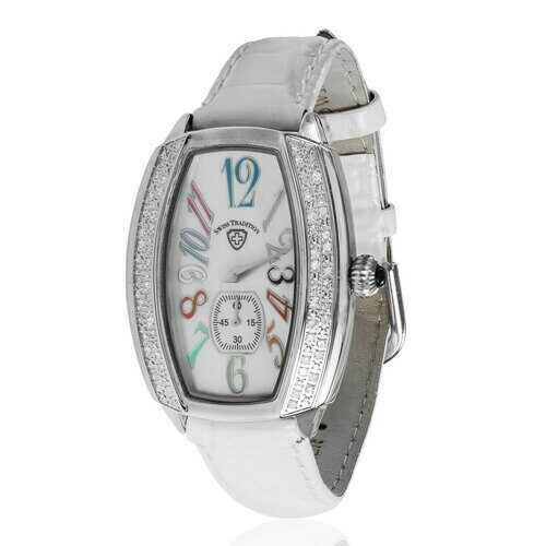 Swiss Tradition Tonneau Crystal Accented White Leather Strap Watch