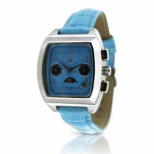 Swiss Tradition Women's 21 Jewel Automatic Movement Moonphase Multifunction Blue Leather Watch