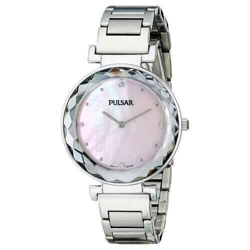 Pulsar PM2079 Women's Night Out Silver Tone Band Swarovski Pink Dial Watch