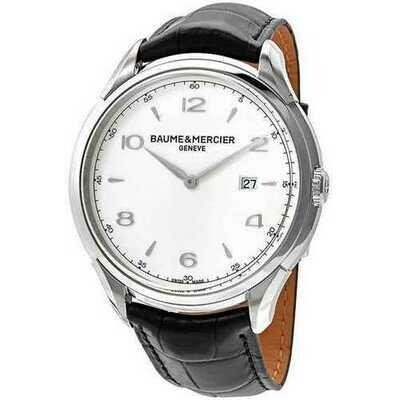 Baume & Mercier 10419 Clifton Silver Dial Men's Black Leather Quartz Watch