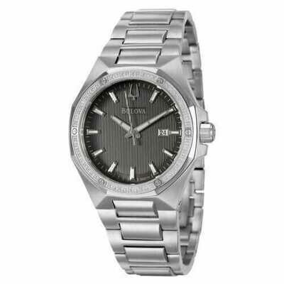 Bulova 96E111 Men's Diamond Grey Dial Stainless Steel Bracelet Date Dress Watch
