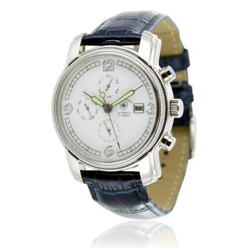 Swiss Tradition Men's Automatic Movement Multifunction Leather Band Watch