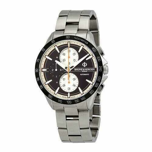 Baume & Mercier 10435 Clifton Club Stainless Black Dial Chronograph Automatic Tachymeter Watch