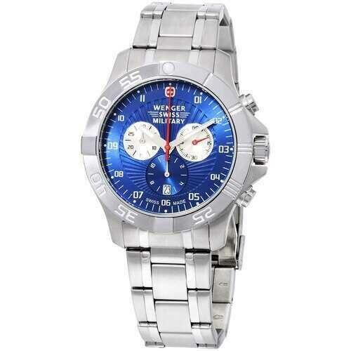 Wenger Regiment 79218C Sport Blue Dial Chronograph Stainless Steel Bracelet Men's Watch