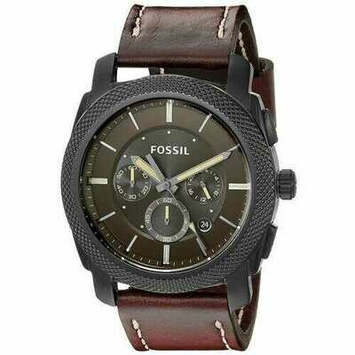 Fossil FS5121 Machine Dark Brown Leather Men's Chronograph Strap Watch