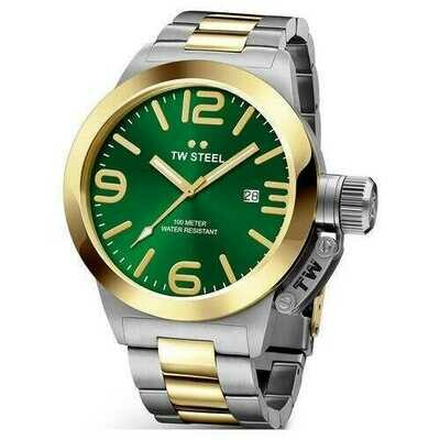 TW Steel CB62 Canteen Two Tone Stainless Steel Green Dial Men's Watch