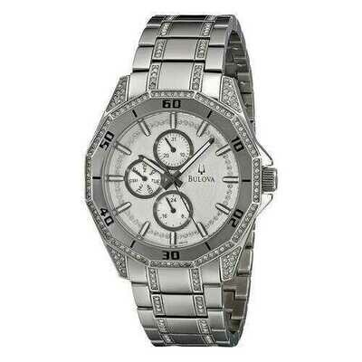 Bulova 96C110 Men's Silver Stainless Steel Crystal Multifunction Quartz Watch
