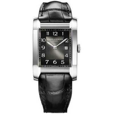 Baume & Mercier 10019 Hampton Black Dial Women's Alligator Leather Watch