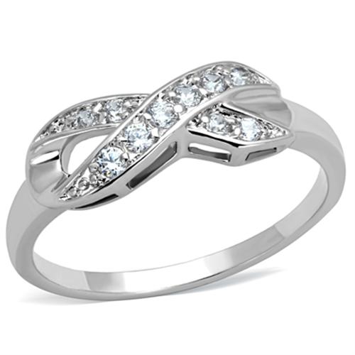 3W757 - Brass Ring Rhodium Women AAA Grade CZ Clear