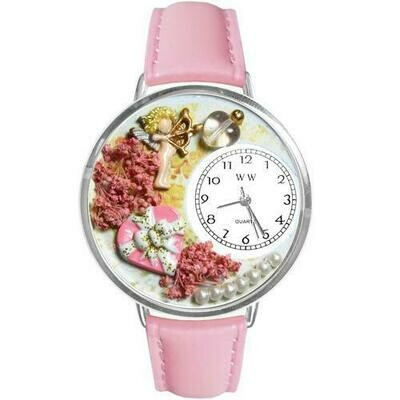 Valentine's Day Watch (Pink) in Silver (Large)