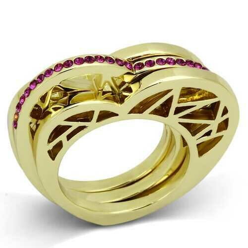 TK863 - Stainless Steel Ring IP Gold(Ion Plating) Women Top Grade Crystal Fuchsia