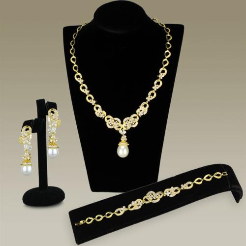 3W945 - Brass Jewelry Sets Gold Women AAA Grade CZ Clear