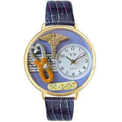 Nurse 2 Purple Watch in Gold (Large)