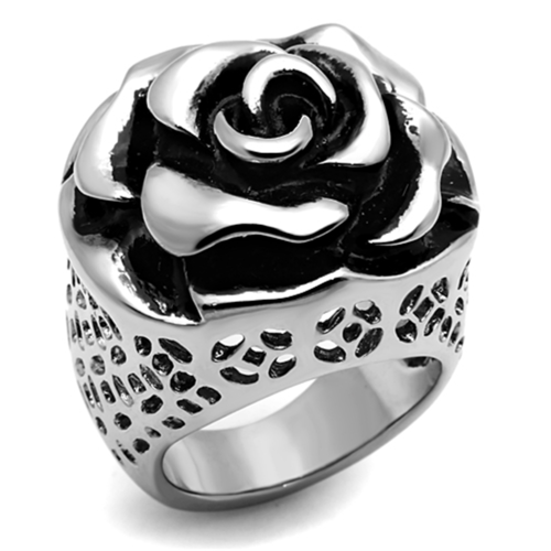 TK922 - Stainless Steel Ring High polished (no plating) Women Epoxy Jet