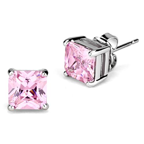 3W531 - Brass Earrings Rhodium Women AAA Grade CZ Rose