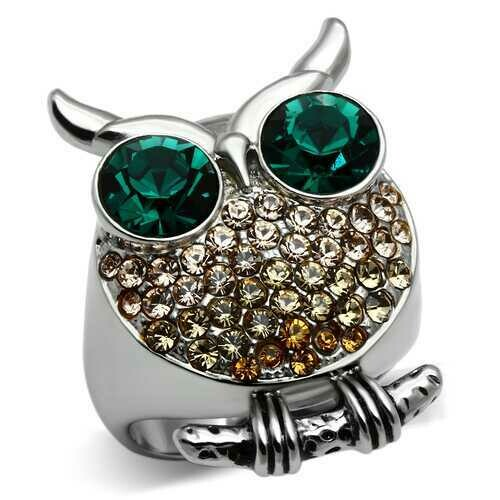 TK656 - Stainless Steel Ring High polished (no plating) Women Top Grade Crystal Emerald