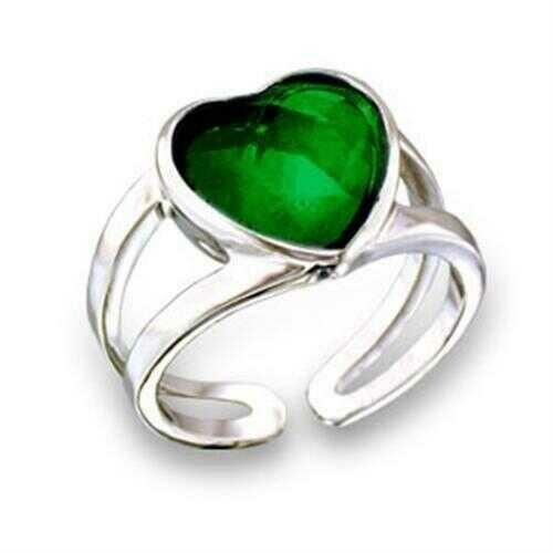 411801 - Brass Ring Rhodium Women Top Grade Crystal Emerald