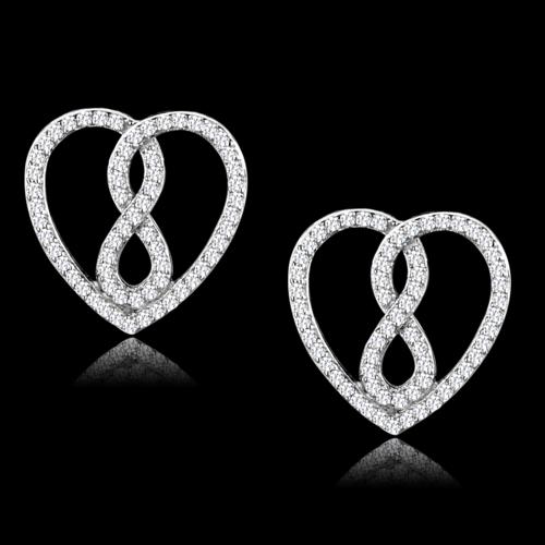 TS549 - 925 Sterling Silver Earrings Rhodium Women AAA Grade CZ Clear