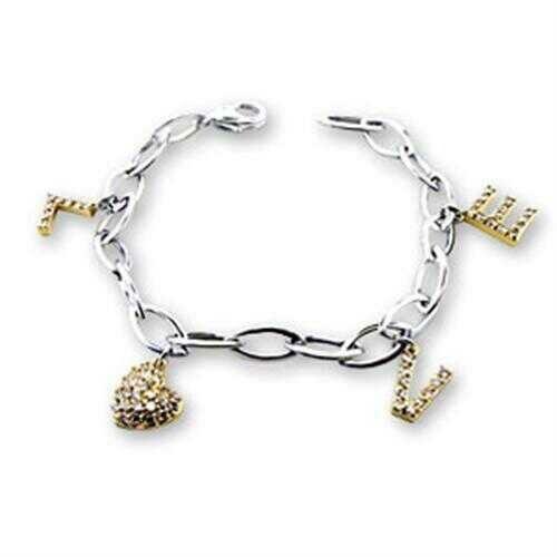 S56206 - 925 Sterling Silver Bracelet Reverse Two-Tone Women AAA Grade CZ Clear