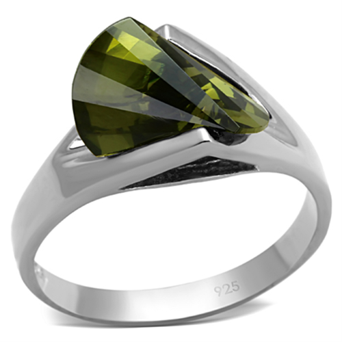 LOS654 - 925 Sterling Silver Ring Rhodium Women AAA Grade CZ Olivine color