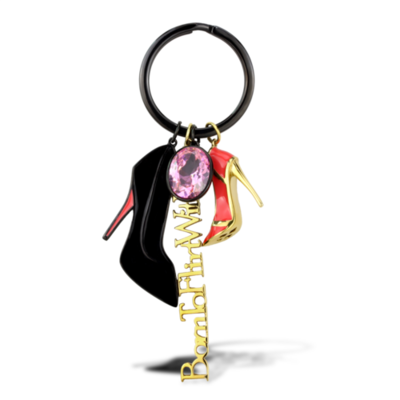 TK2913 - Stainless Steel Key Ring IP Gold+ IP Black (Ion Plating) Women AAA Grade CZ Rose