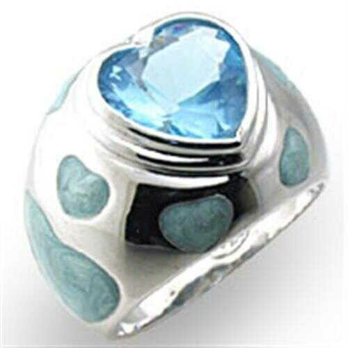 33923 - 925 Sterling Silver Ring High-Polished Women Synthetic Sea Blue