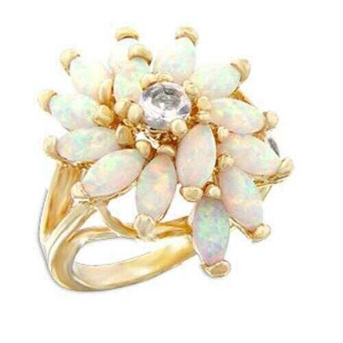 55117 - Brass Ring Gold Women AAA Grade CZ Clear
