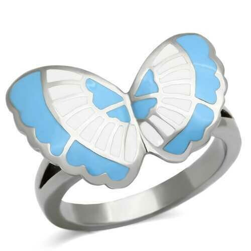 TK827 - Stainless Steel Ring High polished (no plating) Women Epoxy Multi Color
