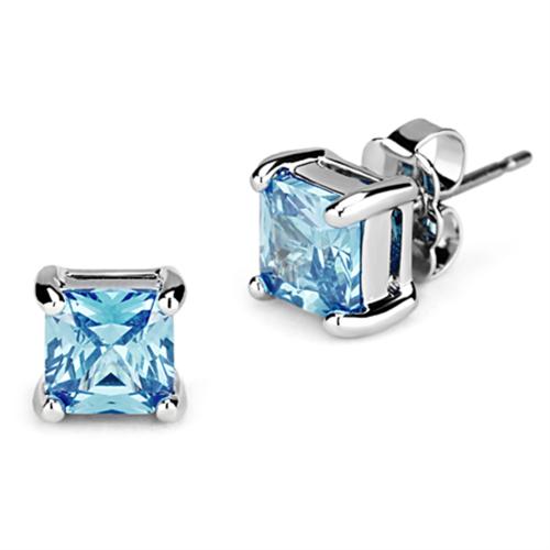 3W539 - Brass Earrings Rhodium Women AAA Grade CZ Sea Blue