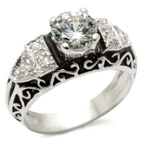 31427 - 925 Sterling Silver Ring High-Polished Women AAA Grade CZ Clear