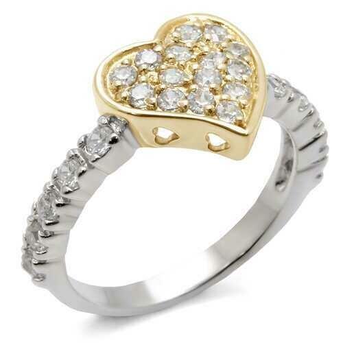 413201 - 925 Sterling Silver Ring Reverse Two-Tone Women AAA Grade CZ Clear