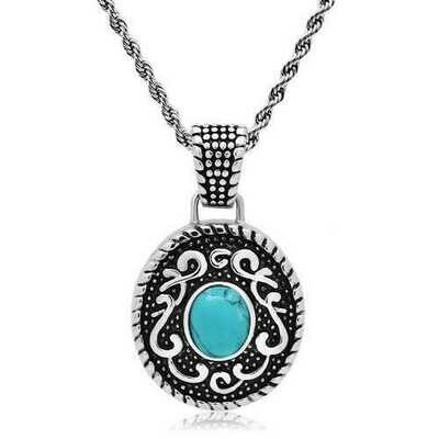 TK550 - Stainless Steel Necklace High polished (no plating) Men Synthetic Sea Blue