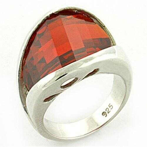 LOAS773 - 925 Sterling Silver Ring Rhodium Women AAA Grade CZ Orange